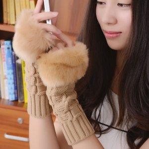 Frauen-Mädchen-gestrickter Kunstpelz Handschuhe Fäustlinge Winter-Wollgarn Armlänge Warmer Außenfingerlose Handschuhe Weihnachtsgeschenke