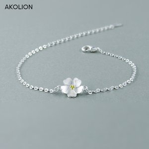 AKOLION prata flores de cerejeira Pulseiras 925 Charme Flor Pulseiras para a menina Mulheres Moda Jóias