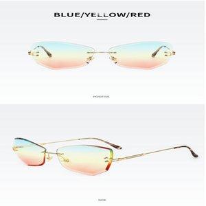 Street shooting wild glasses Vintage Rectangular Sunglasses Women 2019 Brand Designer Narrow Rectangle Rimless Gold Frame 90s Sun ODUxv