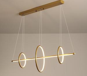 Negro o de oro nórdico LED lámpara de luz de acrílico redonda anillo largo de iluminación Lámpara colgante para el restaurante Dormitorio Arte colgante Lámparas LLFA