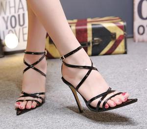 Sıcak Satış-Bayanlar tasarımcı Sandals sandalet ayakkabı deri ince topuk bayan yazlık ayakkabıları büyük boy 35-43 bağladılar çapraz