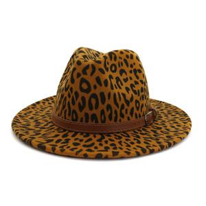 2020 Pop Cheap Wholesale Party Lady Felt Wool Chapeau Panama Fedora Hats Men Women Panama Style Jazz Trilby Hat with Leopard Print
