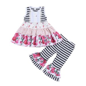 Girls Lace Striped Sets 17 Colors Kids Flare Sleeve Tops Baby Grils Thanksgiving Turkey Suit Kids Casual Clothes Floral Casual Pants 06