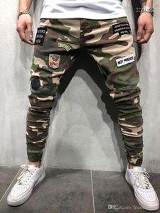 Enfriar para hombre verde del ejército pantalones de camuflaje para hombre flaco largo tramo vaqueros para hombre Parches Lápiz Pantalones Moda