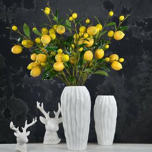 12pcs / lot Plante artificielle Branches citron Simulation Lemon Tree Agent Fleur Bouquet de fleurs artificielles Plantes en plastique