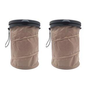 2PCS Cestino dei rifiuti universale Garbage cestino auto può accessori con la copertura pieghevole Storage Easy Clean grande capacità