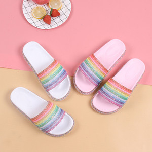 Rainbow Bling Slippers For Girls Summer Non-Slip Soft Beach Ladies Slides Flats Shoes Home Women Slipper Outdoor Footwear Sandal