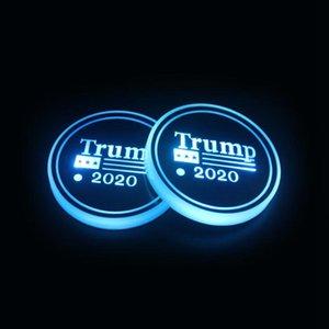 Trump Cup Pad LED acrylique Coasters président américain Élection coloré lumineux Coupe Mats Trump Car Slip-Mat Non LJJO7979