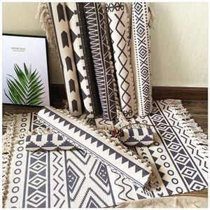 Cotton Soft Tassel Home Carpets for Living Room Bedroom Decorate Home Carpet Floor Door Mat Nordic Cotton LinenArea Rug Mats Y200527