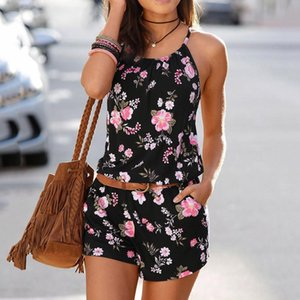 Women's Summer Sling Short Jumpsuits O-neck Fashion Printeddies Beach Casual Backless Slim Rompers T200704