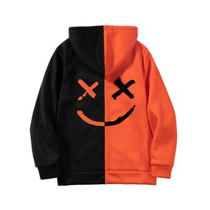 Männer Sweatshirts beiläufige Strickjacke Harajuku Hip Hop Hoodies New Male Printing Street Mens Zipper Patchwork Outwear Mantel-Kleidung T200608