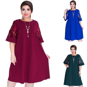 Splice Loose Lace Summer Dresses Plus Size 6XL Women Short Sleeve Knee-Length Office Dress Free Shipping