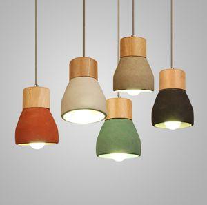 Cemento Loft lámparas pendientes Industrial LED Lámparas de luz de madera del colgante del arte del accesorio ligero de techo del accesorio ligero de la lámpara