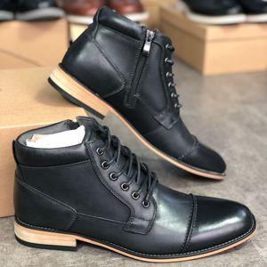 New couro genuíno Homens Martin Botas ocidental da bota de vaqueiro Ankle Zip no Lado Negro Moda Top Quality Shoes com Box US12