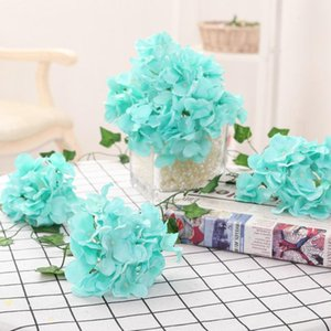 LOT 20PCS 13-15cm Hydrangea Flower Head 27 Forks Home Decorative Silk Flowers DIY Wreath Wedding Wall Road Lead Arch Flowers