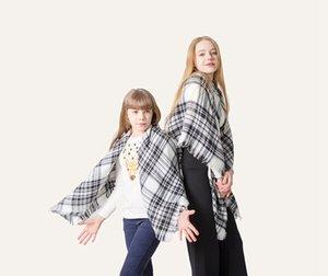 Pashmina bufandas a cuadros 16 colores 100 * 100cm 140 * 140 cm de padre-hijo Plaza imitación de la cachemira de la borla de la bufanda del mantón del abrigo de la manta 10sets LJJO7146