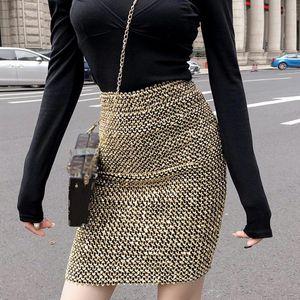 Women High Waist Midi Skirt Sequined Fashion Midi Bottoms Bodycon Elasticity Pencil Skirts Spring Autumn Lady Elegant Clothes