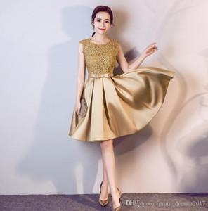 New Golden Elegance élégante courte formelle robes de soirée en dentelle Appliqué Épaules Zipper demoiselle d'honneur Salle de bal Robes