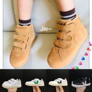 Kids Boy VEJA Platform Sneakers Girls Calfskin Shoes Vintage White Platform Casual Shoes Classic Childrens Running Trainer Chaussures 22-35