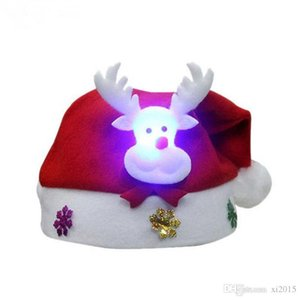Non Woven Christmas Hat With Led Light Stars Hats Christmas Holiday Supplies ELCD003