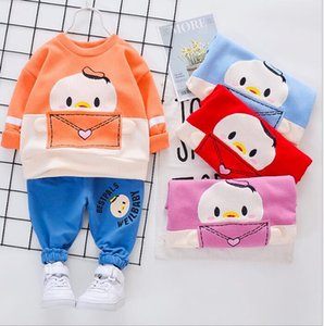 2020 new spring and autumn children's fashion cartoon suit boys and girls T-shirts two sets baby clothes fashion manufacturers
