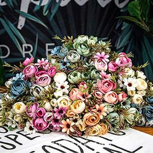 1PC Yapay Şakayık İpek Çiçek Vintage Stil Şakayık Buket Gerçekçi Dekoratif Sahte Çiçekler Sahte