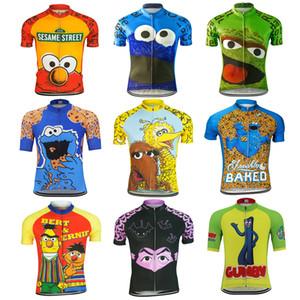 Divertido de la historieta del verano un ciclo jerseys hombres comen la galleta ropa de ciclo de la bici camino ciclo compite con la ropa de manga corta camiseta de la ropa de la bicicleta MTB