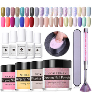 14PCS Dipping prego Kits Nude Holographic Dip prego Glitter Luminous Matte Gradiente Chrome Pigment Sequins Poeira