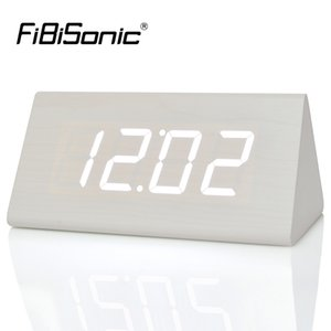 Fibisonic New Modern Wood Uhren, Holz Einzigartige Big Numbers Digital Led Kalender Thermometer Voice Alarm Tischuhr Y19062704