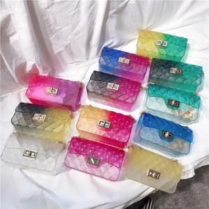 Designer-Clear transparent épaule chaîne gelée Sac coloré bonbons Color Design Femmes Filles Sacs à carreaux Petit mat Sac Messenger Mode