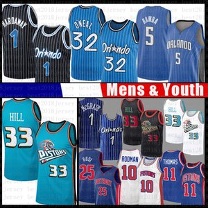 Concessione 33 32 Shaquille O'Neal Hill Penny Hardaway pallacanestro Jersey Derrick Isiah Thomas Dennis Rodman Rose Tracy McGrady Bamba Magics Pistone