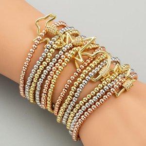 Hip Hop Jewelry Fashion Personality Bracelets Men Women Bangle Copper Zircon 3pcs set Charm Elastic Bracelet Xmas Gift