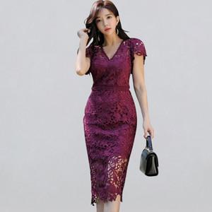 Sexy выдалбливают Кружева платье карандаша женщин Осень Новый V-образный вырез платья Оболочка Casual-футляр Evening Party Club Vestidos