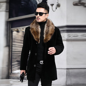 Overcoat Mal Wollmischung Herbst-Winter-Mantel-Männer mit künstlicher Pelz-Kragen-Mantel-Mann-Winter-Graben