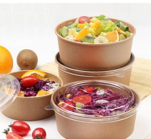 Round Disposable thick kraft paper salad Fruit Bento bowl with lid kraft Lunch box edible grade PET Restaurant Take Out Takeaway Lunch Box
