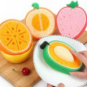 Cute Fruit Shape 4 шт / комплект ткань Microfiber губка Штукатурки Pad очистки Удалить Пятна Утолщенные Губка Кухонные инструменты