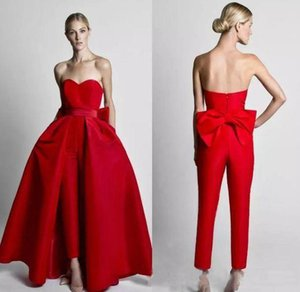 2020 سروال الأحمر حللا Wdding فساتين مع انفصال تنورة حمالة العروس ثوب الزفاف خط الحزب للمرأة CUSTO