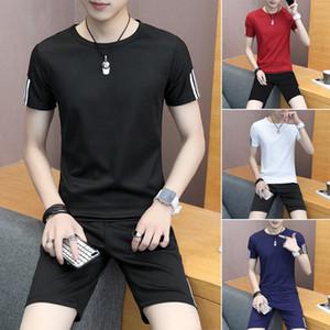 الرجال الصيف كاملة بدلة رياضية الرياضة تي شيرت + سروال قصير رياضي ملابس رياضية مجموعات عادية نمط الآسيوية مريح Homewear