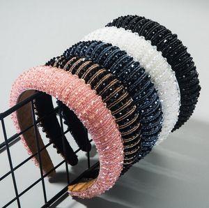 Luxuxfrauen voller Kristall Strass Sponge verschönerte gepolsterter Kopfbügel Mädchen Handmade Perlen Haarband Jeweled Haarschmuck