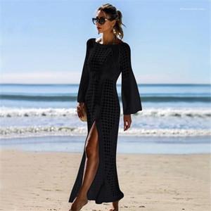 Hollow Out Split Up Bikini Cover Ups Beach Boho Long Dresses Rush Guards Women Long Cover-ups