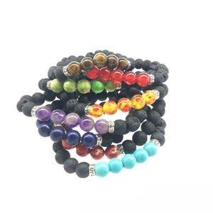 Bracelets de pierre volcanique naturelle Charm femmes Chakra équilibre perles Bracelets Bangle Strand Mode roman Bijoux Homme Noir Lava Bracelet