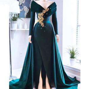 Verde escuro mangas compridas de cetim uma linha de vestidos de noite Applique frisada Pedras Dividir Sweep Trem Prom Party Dresses Plus Size