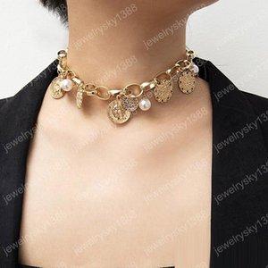 Collane girocollo vintage bohemien per donna Faux Pearl Coin Emboss Pendant O shape Catene in argento dorato Moda Boho Regalo di gioielli