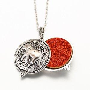 2020 Colar Elephant Difusor Abrir Medalhões perfume pingente medalhão Essencial ao comprimento enviar corrente de 60 centímetros + 1pcs mat F18