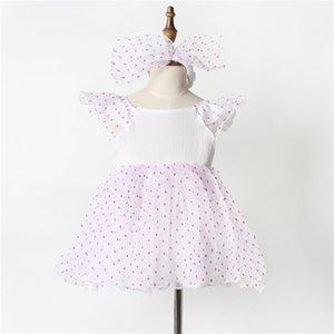 Девушки розовые точки Flouncing рукавом летнее платье 2 шт. Набор для 3m-5y большой лук оголовье + точки пачка платье новорожденных младенцев сладкий юбка день рождения