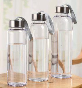 300 мл 400 мл 500 мл открытый спорт бутылки с водой пластиковые прозрачные круглые герметичные чашки с подъемной веревкой путешествия портативный Кубок воды GGA2632