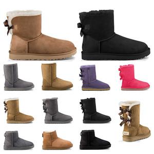 Yeni lüks tasarımcı Avustralya kürk botları womens Klasik kar kış moda Ayak bileği kısa botlar siyah Kestane gri pruva boyutu 5-10