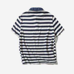 Origional Vintage Verão listras pólo dos homens Adolescente de estilo japonês Hipster Slim Fit puro algodão de manga curta T-sh