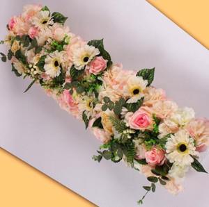 50cm DIY flower row Acanthosphere Rose Eucalyptus wedding decor flowers rose peony hydrangea plant mix flower arch artificial decorations
