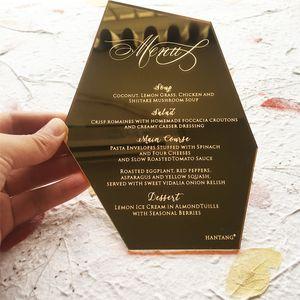Oyma Mektupları ile 20pieces Başına Lot Altın Ayna / Gümüş Ayna Akrilik Düğün Menüsü Kartları